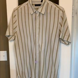 Kenneth Cole short sleeve green stripe button down